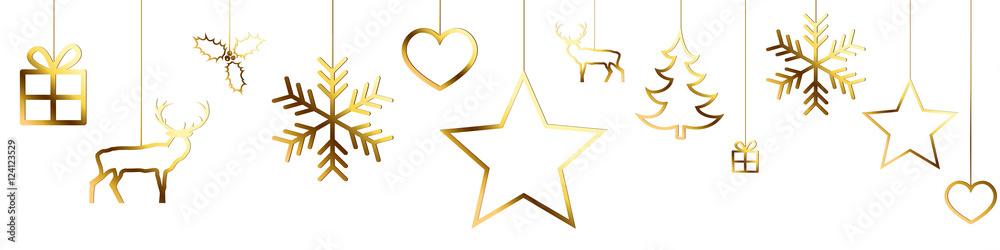 Fototapeta Bannière décorations de Noël dorées sur fond blanc