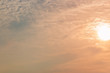 Sunset sky with white clouds and bright sky background.