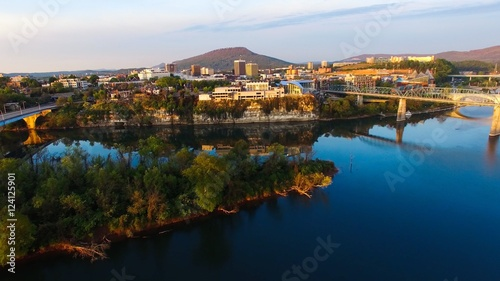 City on the water Aerial drone shots of Chattanooga