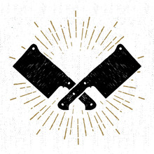 Hand Drawn Icon With Textured Cleaver Knifes Vector Illustration.