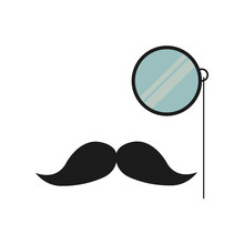Mustache And Glass Gentleman Icon Vector Illustration Design