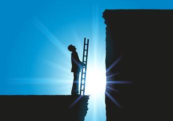 Obstacle - Homme d'affaire - Echelle - Falaise