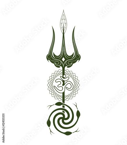 Symbols Yoga Trishula The Sacred Syllable Om Snakes Symbolize