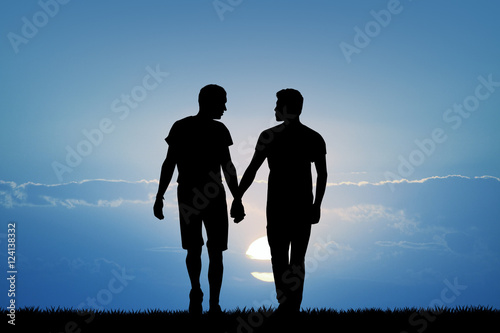 gay couple at sunset Wallpaper Mural