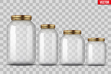 Set Of Glass Jars For Canning And Preserving. With Cover And Without Lid. Vector Illustration Isolated On Transparent Background.