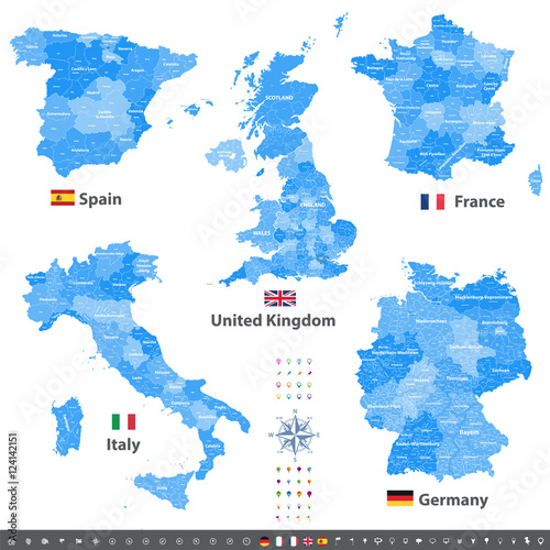 High Detailed Vector Maps And Flags Of United Kingdom Italy