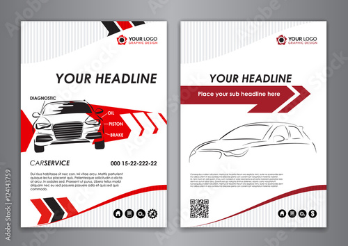A5, A4 set service car business card templates. Auto repair Leaflet Brochure Flyer templates. Vector illustration.