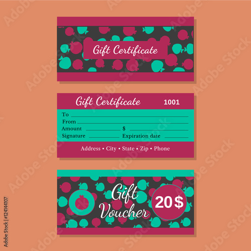 Set Of Templates Gift Certificate Design Idea Of Front Back Side