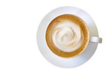 Top View Of Hot Coffee Cappuccino Cup With Milk Foam Isolated On White Background, Clipping Path Included.