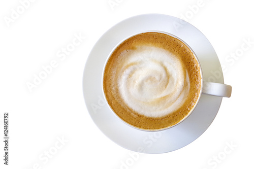 Top view of hot coffee cappuccino cup with milk foam isolated on
