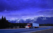 Semi truck on mountain highway, Alberta, Canada