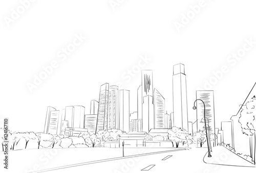 City Skyscraper Sketch View Cityscape Skyline Vector Illustration
