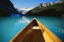 Canoe On Lake Louise In Alberta, Canada