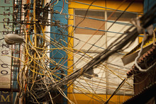 A Tangle Of Wires And Cables; Agra, Uttar Pradesh, India