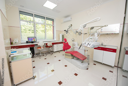 Dental office colors Beach Themed Dental Clinic With Modern Dental Units Chairs Equipment Tools And Microscope Used By Dentists Dental Office In Red And White Colors Stomatology Pinterest Dental Clinic With Modern Dental Units Chairs Equipment Tools And
