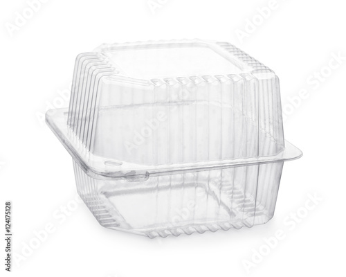Closed transparent plastic food packaging box
