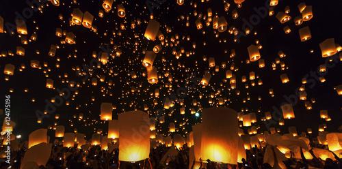 Fotografie, Obraz  Floating Lantern Festival Loy Krathong Yi Peng Lanna at Chiang M