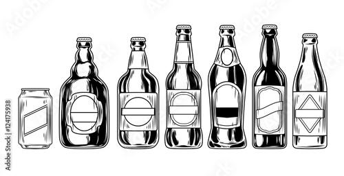 Set icons of beer bottles Wallpaper Mural