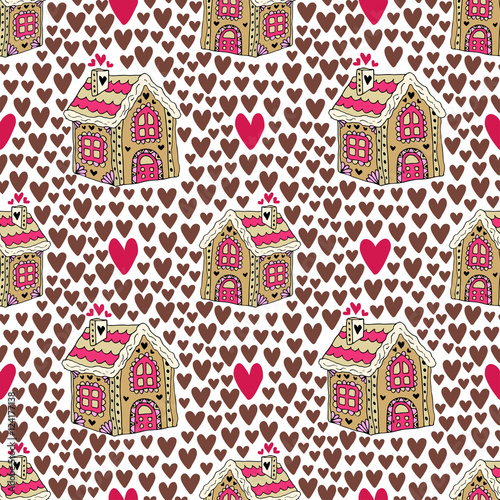 Cotton fabric New year background with gingerbread house and hearts. Sweets cookie seamless pattern