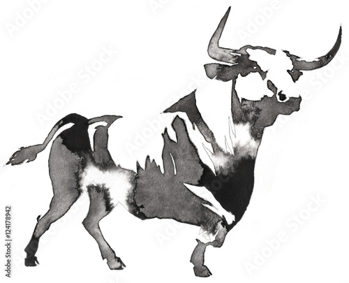 Canvas Print black and white monochrome painting with water and ink draw bull illustration