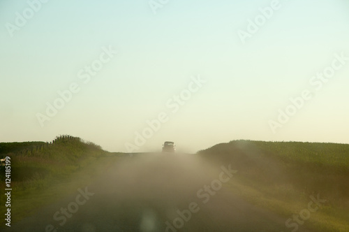 Photo  2CV on dirt road, summer