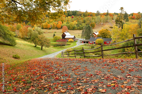 Fotomural  Overlooking a peaceful New England Farm in the autumn, Woodstock, Vermont, USA