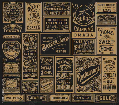 Fototapety, obrazy: Mega pack of old advertisement designs and labels - Vector illus
