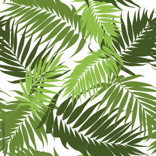 Ingelijste posters Tropische Bladeren Jungle tree leaves tropical seamless pattern.