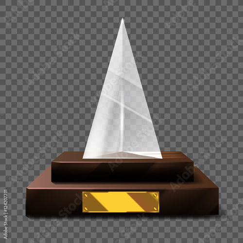 Empty realistic glass trophy awards vector statue with empty