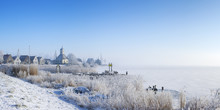 The Village Of Durgerdam, Netherlands In A Frozen Landscape