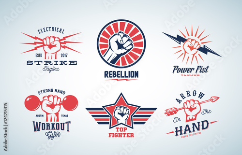 Canvastavla Abstract Vector Fists Logo Set