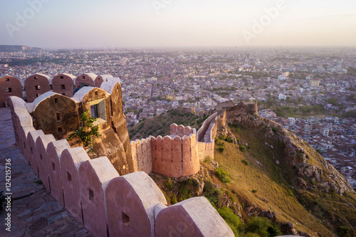 Fortification Aerial view of Jaipur from Nahargarh Fort at sunset