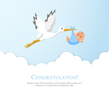 Cartoon Stork In Sky With Baby...