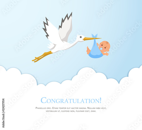 Stampa su Tela Cartoon stork in sky with baby