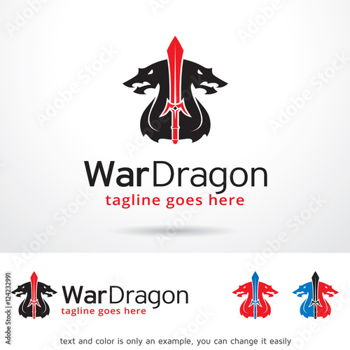 War Dragon Logo Template Design Vector Poster