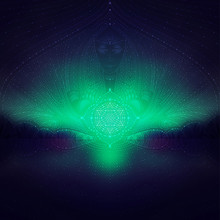 Wonderful Blurred Landscape With Transparent Geometric Patterns And Stars, Fantastic Character In Space And Flower Of Life, Visionary Art, Vector