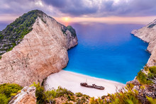 Navagio Beach With Shipwreck At Sunset,Zakynthos Island, Greece