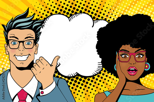 Wow couple faces. Handsome happy young surprised man and sexy woman in glasses with open mouths and empty speech bubble. Vector colorful cartoon background in pop art comic retro style/