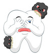 Cartoon tooth with caries
