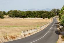 Landsväg Genom Odlingslandskap Med Berg I Bakgrunden