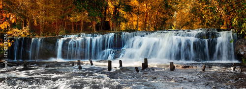Foto op Canvas Watervallen Tropical rainforest landscape with flowing Kulen waterfall in Cambodia. Two images panorama