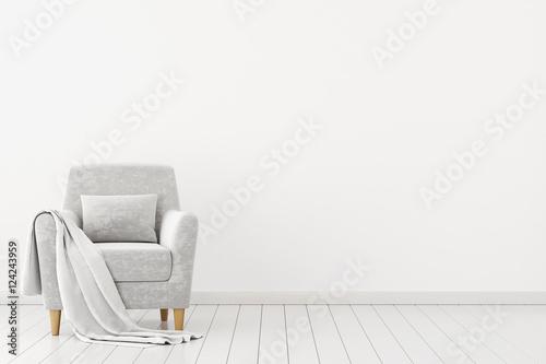 Fotografie, Obraz  Neutral interior with velvet armchair on empty white wall background
