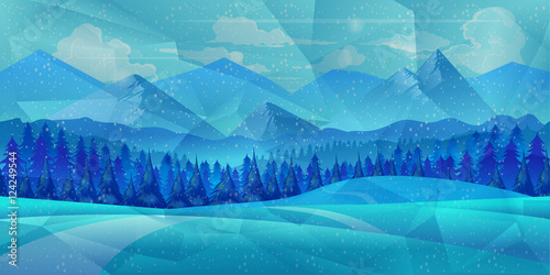 Foto op Aluminium Blauw Winter low poly background with road and polygonal firs trees. Landscape season, frost outdoor snowfall, vector illustration
