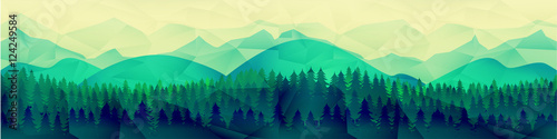 Photographie  Low poly mountains landscape vector background