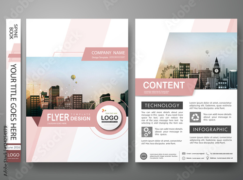 Brochure Design Template Vector Pink Abstract Shape Cover Book