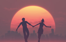 Silhouettes Of Young Romantic Couple