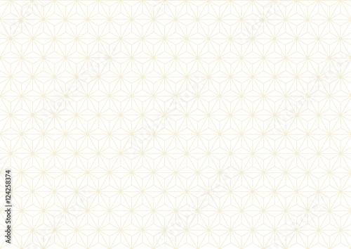 Stampa su Tela 麻の葉 伝統文様 和柄 背景 黄色 金