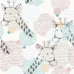 fototapeta narysowany geometryczny wzór z żyrafą