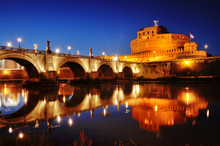Rome, Italy - Castel Sant'Angelo (Mausoleum Of Hadrian) And Bridge Over River Tiber At Night