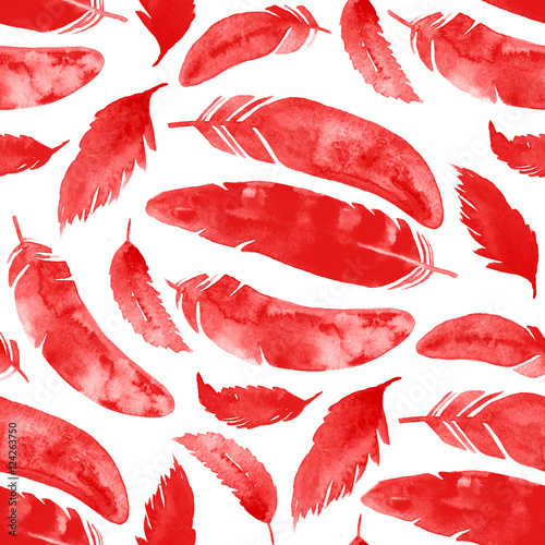 Cotton fabric watercolor seamless red cock feathers pattern.